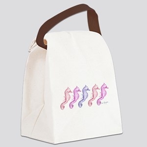 5 pink seahorses in a row Canvas Lunch Bag