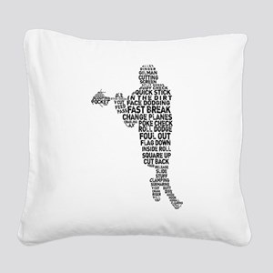 Lacrosse Lingo Square Canvas Pillow