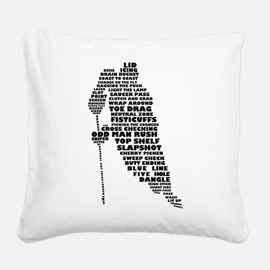 Language of Hockey (skater) Square Canvas Pillow
