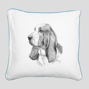 Basset Hound Square Canvas Pillow