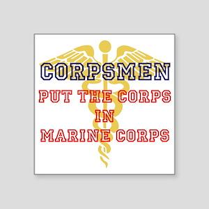 "Marine Corps Corpsmen Square Sticker 3"" x 3&q"