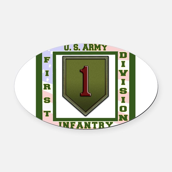 Big Red One Oval Car Magnet