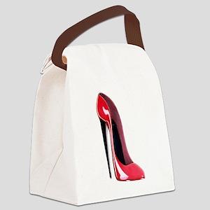 Black_heel_red_stiletto_shoe Canvas Lunch Bag