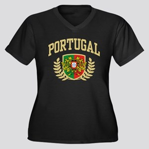 Portugal Women's Plus Size V-Neck Dark T-Shirt