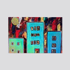 Little Turquoise Houses Rectangle Magnet