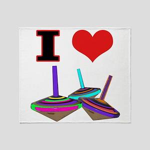 I Love Tops Throw Blanket