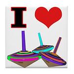 I Love Tops Tile Coaster
