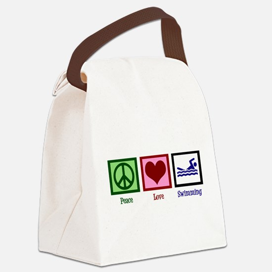 Peace Love Swimming Canvas Lunch Bag