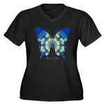 Samadhi Butterfly Women's Plus Size V-Neck Dark T-
