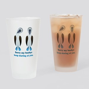 Pair of Boobys text Drinking Glass