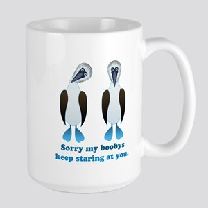 Pair of Boobys text Large Mug