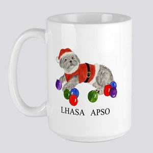 Lhasa Apso Christmas Drawing Gray Large Mug