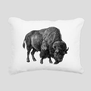 Vintage Bison Rectangular Canvas Pillow