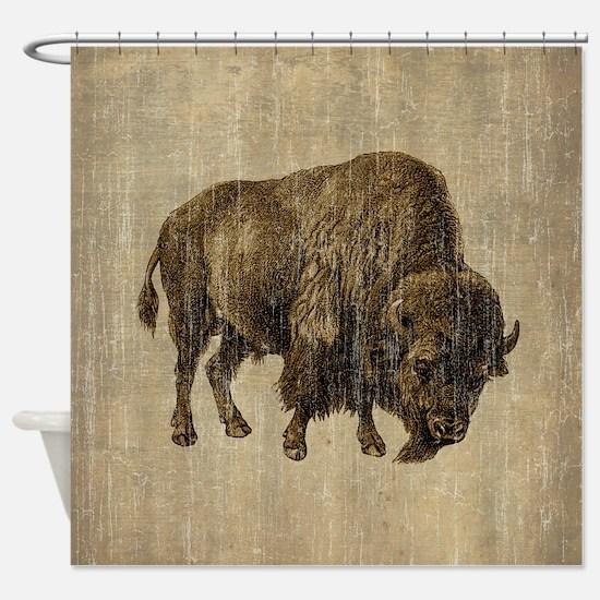 Vintage Bison Shower Curtain