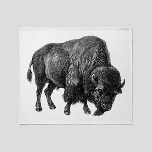 Vintage Bison Throw Blanket