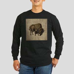 Vintage Bison Long Sleeve Dark T-Shirt
