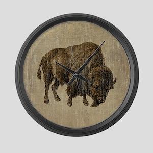 Vintage Bison Large Wall Clock