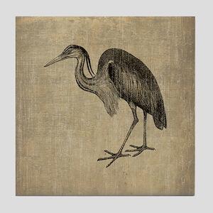 Vintage Heron Tile Coaster