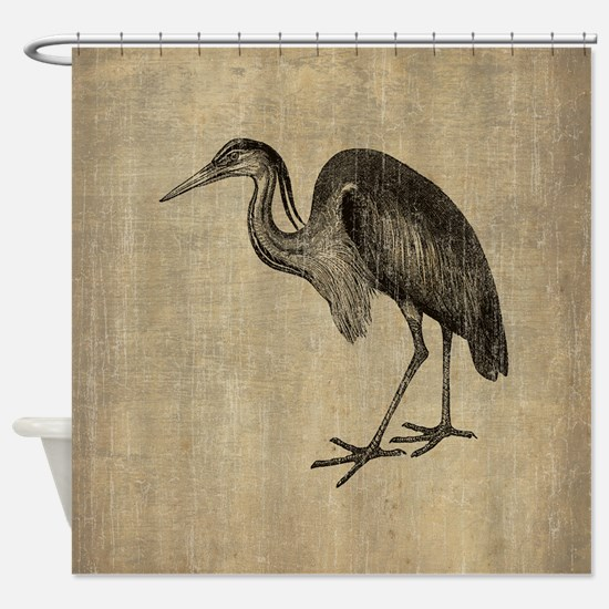 Vintage Heron Shower Curtain
