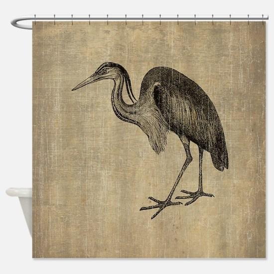 Vintage Heron Shower Curtain