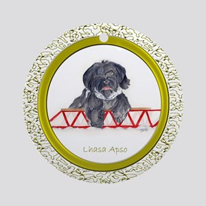 Lhasa Apso Christmas Black SP Ornament (Round)