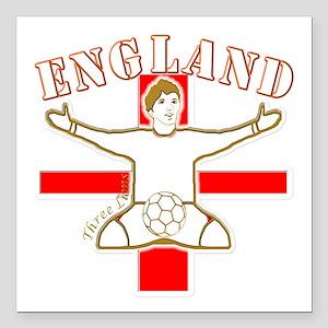 "England St George Footba Square Car Magnet 3"" x 3"""