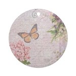 Vintage Pink flowers and butterfly Ornament (Round