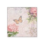 Vintage Pink flowers and butterfly Square Sticker