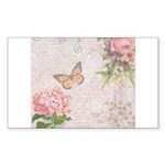 Vintage Pink flowers and butterfly Sticker (Rectan