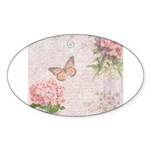 Vintage Pink flowers and butterfly Sticker (Oval 1