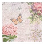 Vintage Pink flowers and butterfly Square Car Magn
