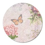 Vintage Pink flowers and butterfly Round Car Magne