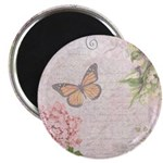 Vintage Pink flowers and butterfly Magnet