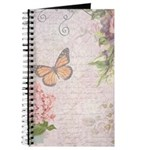 Vintage Pink flowers and butterfly Journal