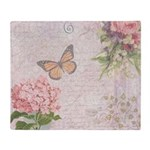 Vintage Pink flowers and butterfly Throw Blanket