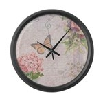 Vintage Pink flowers and butterfly Large Wall Cloc