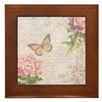 Vintage Pink flowers and butterfly Framed Tile