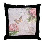 Vintage Pink flowers and butterfly Throw Pillow