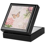 Vintage Pink flowers and butterfly Keepsake Box