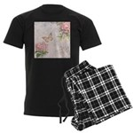 Vintage Pink flowers and butterfly Men's Dark Paja