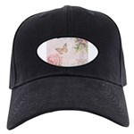 Vintage Pink flowers and butterfly Black Cap