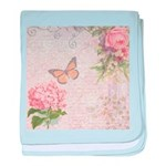 Vintage Pink flowers and butterfly baby blanket