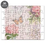 Vintage Pink flowers and butterfly Puzzle