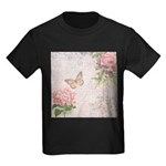 Vintage Pink flowers and butterfly Kids Dark T-Shi