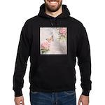 Vintage Pink flowers and butterfly Hoodie (dark)