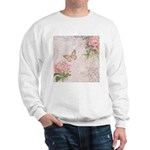 Vintage Pink flowers and butterfly Sweatshirt