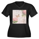 Vintage Pink flowers and butterfly Women's Plus Si