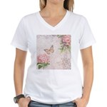 Vintage Pink flowers and butterfly Women's V-Neck