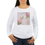 Vintage Pink flowers and butterfly Women's Long Sl