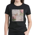 Vintage Pink flowers and butterfly Women's Dark T-
